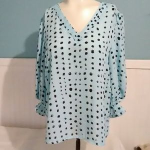 NWT Worthington Turquoise Dot Blouse. PL